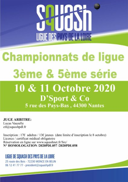 Ligue Squash PDL Championnat 3ème & 5ème série 10 et 11 octobre 2020